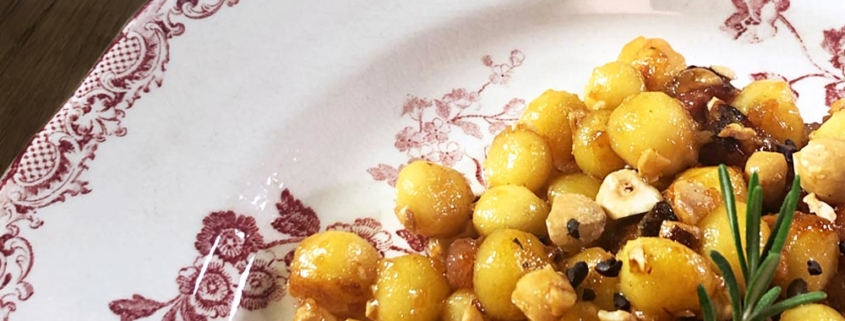 Chicche di patate con pancetta glassata